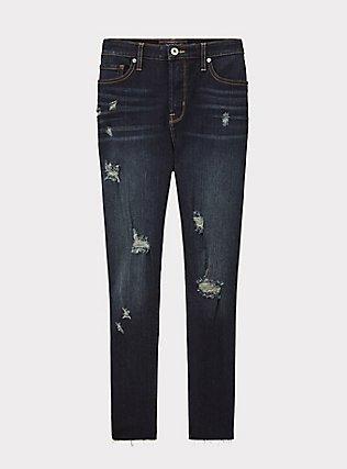 Sky High Skinny Jean - Premium Stretch Dark Wash with Raw Hem, NEWCASTLE, flat