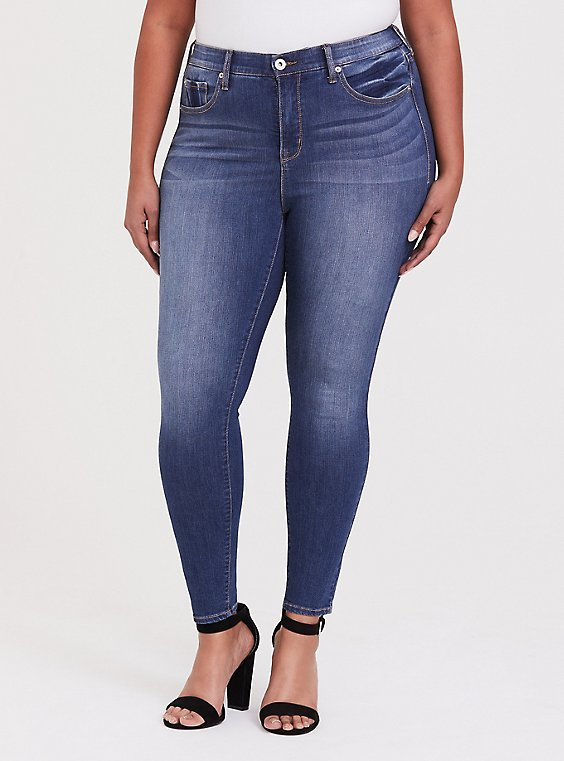 Plus Size Sky High Skinny Jean - Premium Stretch Medium Wash, , hi-res