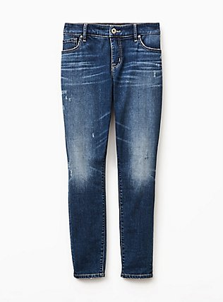 Plus Size Mid Rise Skinny Jean - Vintage Stretch Medium Wash, SHELBY 68, flat
