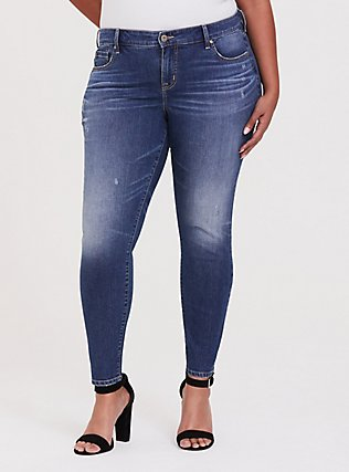 Plus Size Mid Rise Skinny Jean - Vintage Stretch Medium Wash, SHELBY 68, hi-res