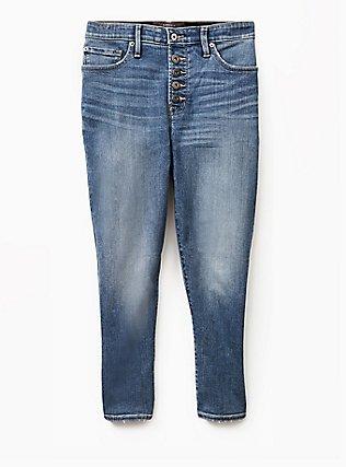 Crop Sky High Skinny Jean - Premium Stretch Medium Wash with Released Hem, GREENWICH, flat