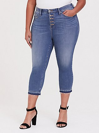 Plus Size Crop Sky High Skinny Jean - Premium Stretch Medium Wash with Released Hem, GREENWICH, hi-res