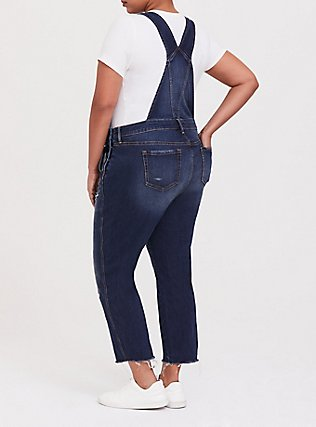 Plus Size Crop Overall - Vintage Stretch Medium Wash with Frayed Cuff, THE VALLEY, alternate
