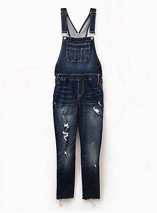 Plus Size Crop Overall - Vintage Stretch Medium Wash with Frayed Cuff, THE VALLEY, flat