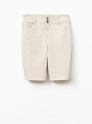 Plus Size Jegging Bermuda Short - Vintage Stretch White, FRENCH VANILLA, flat