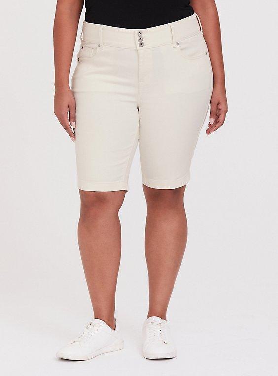 Plus Size Jegging Bermuda Short - Vintage Stretch Off White, , hi-res
