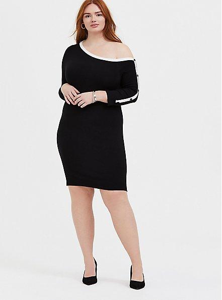 Plus Size Black & White Off Shoulder Button Sleeve Dress, DEEP BLACK, alternate