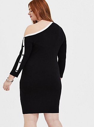 Plus Size Black & White Off Shoulder Button Sleeve Dress, DEEP BLACK, alternate