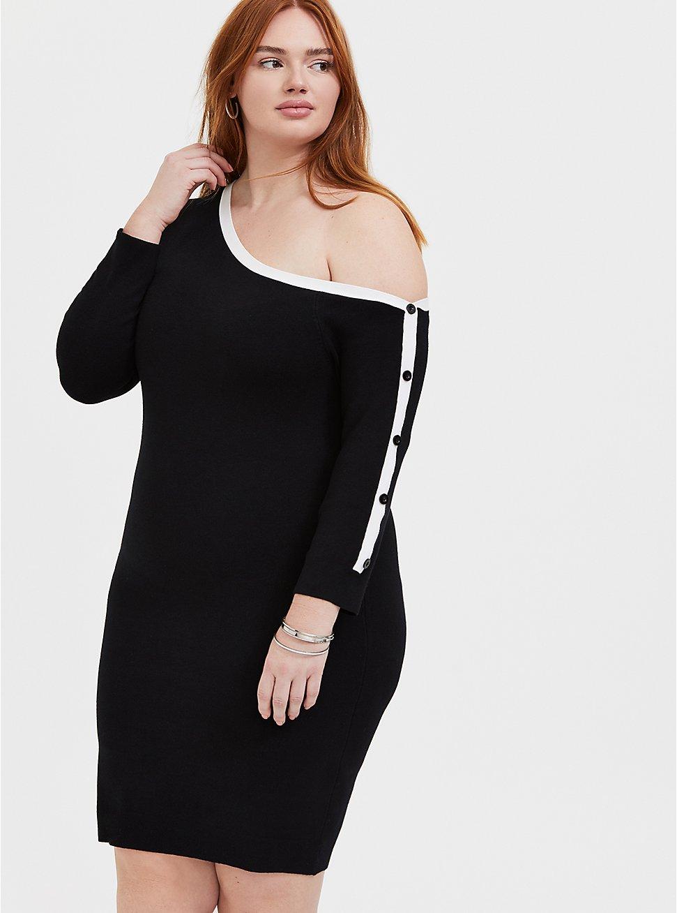 Plus Size Black & White Off Shoulder Button Sleeve Dress, DEEP BLACK, hi-res