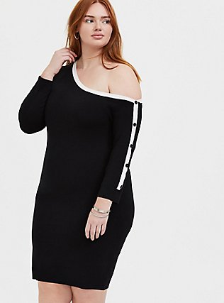 Plus Size Black & White Off Shoulder Button Sleeve Dress, DEEP BLACK, hi-res