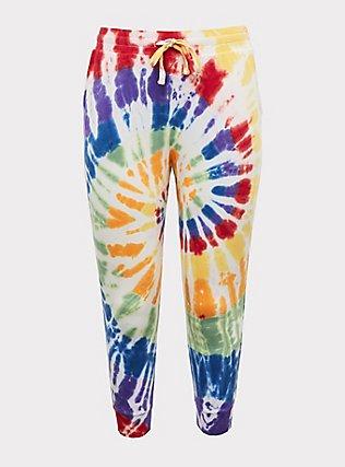 Plus Size Rainbow Tie-Dye Terry Drawstring Jogger, MULTI TIE DYE, flat