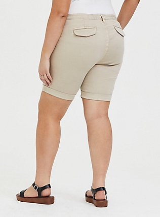 Plus Size Chino Twill Short - Tan, KHAKI, alternate