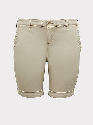 Plus Size Chino Twill Short - Tan, KHAKI, flat