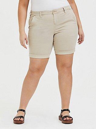 Plus Size Chino Twill Short - Tan, KHAKI, hi-res