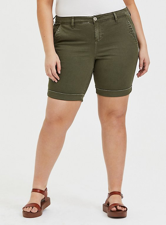 Plus Size Bermuda Chino Short - Twill Olive Green, , hi-res
