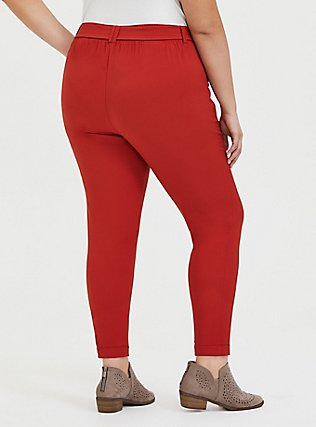 Plus Size Red Terracotta Crepe Tie Front Tapered Pant, KETCHUP, alternate