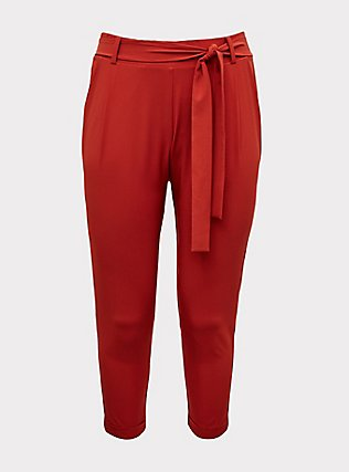 Plus Size Red Terracotta Crepe Tie Front Tapered Pant, KETCHUP, flat