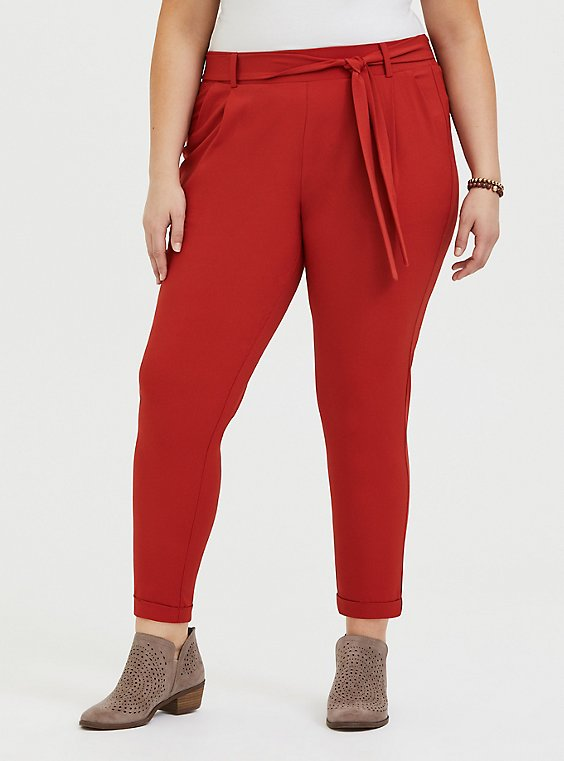 Red Terracotta Crepe Self Tie Tapered Pant, , hi-res