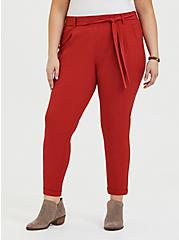 Red Terracotta Crepe Self Tie Tapered Pant, KETCHUP, hi-res