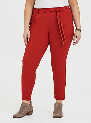 Plus Size Red Terracotta Crepe Tie Front Tapered Pant, KETCHUP, hi-res