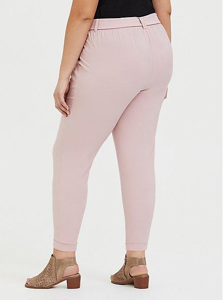 Mauve Pink Crepe Self Tie Tapered Pant, PALE MAUVE, alternate