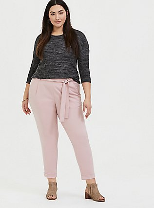 Blush Pink Crepe Tie Front Tapered Pant, PALE MAUVE, alternate