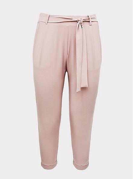 Mauve Pink Crepe Self Tie Tapered Pant, PALE MAUVE, hi-res