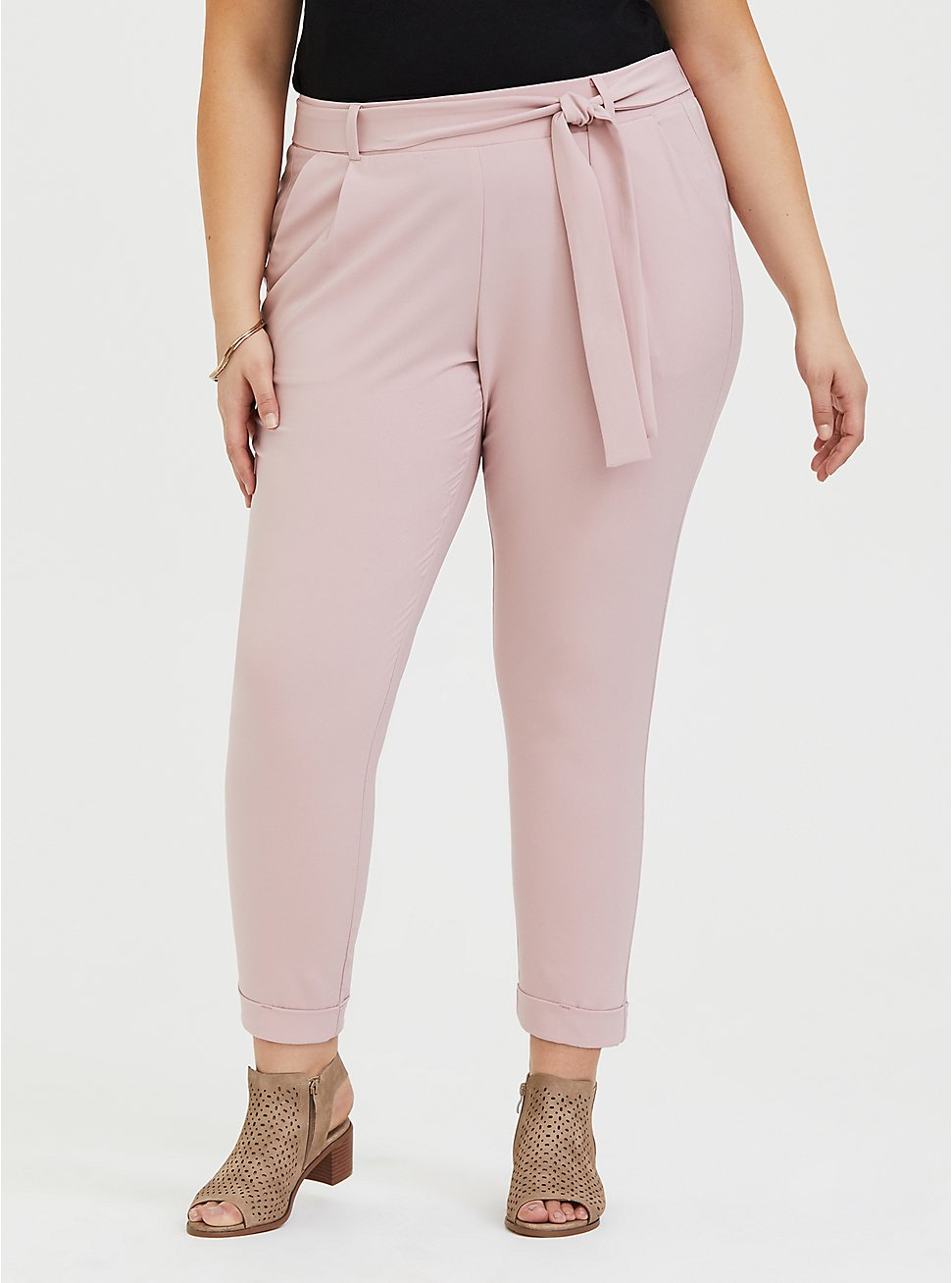 Mauve Pink Crepe Self Tie Tapered Pant, PALE MAUVE, hi-res