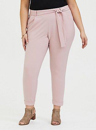 Blush Pink Crepe Tie Front Tapered Pant, PALE MAUVE, hi-res
