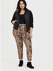 Snakeskin Print Crepe Self Tie Tapered Pant, ANIMAL, alternate