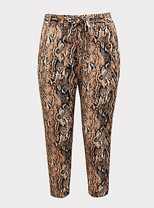 Plus Size Snakeskin Print Crepe Tie-Front Tapered Pant, ANIMAL, flat