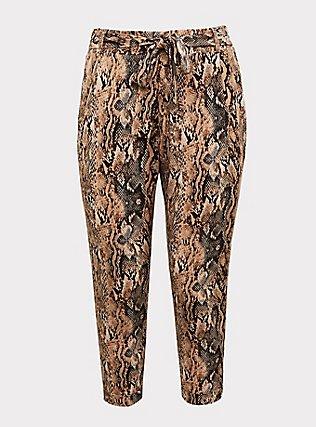 Snakeskin Print Crepe Self Tie Tapered Pant, ANIMAL, flat