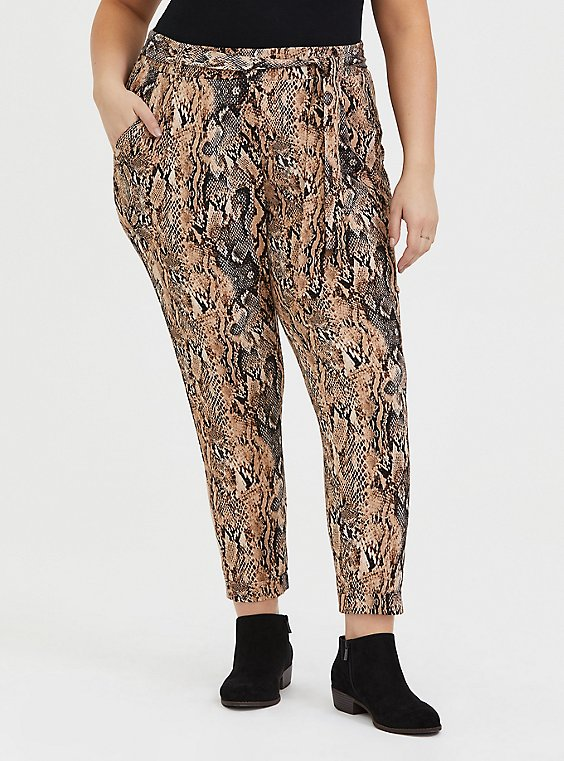 Plus Size Snakeskin Print Crepe Self Tie Tapered Pant, , hi-res