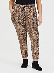 Snakeskin Print Crepe Self Tie Tapered Pant, ANIMAL, hi-res