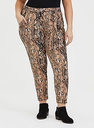 Plus Size Snakeskin Print Crepe Tie-Front Tapered Pant, ANIMAL, hi-res