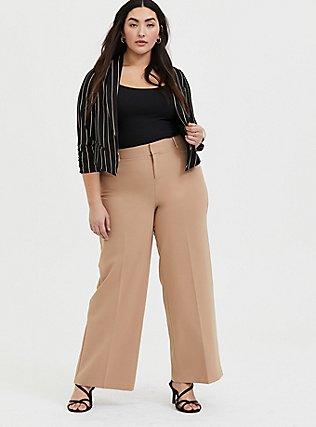 Tan Structured Wide Leg Pant, MACCHIATO BEIGE, alternate
