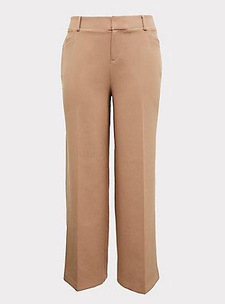 Tan Structured Wide Leg Pant, MACCHIATO BEIGE, flat