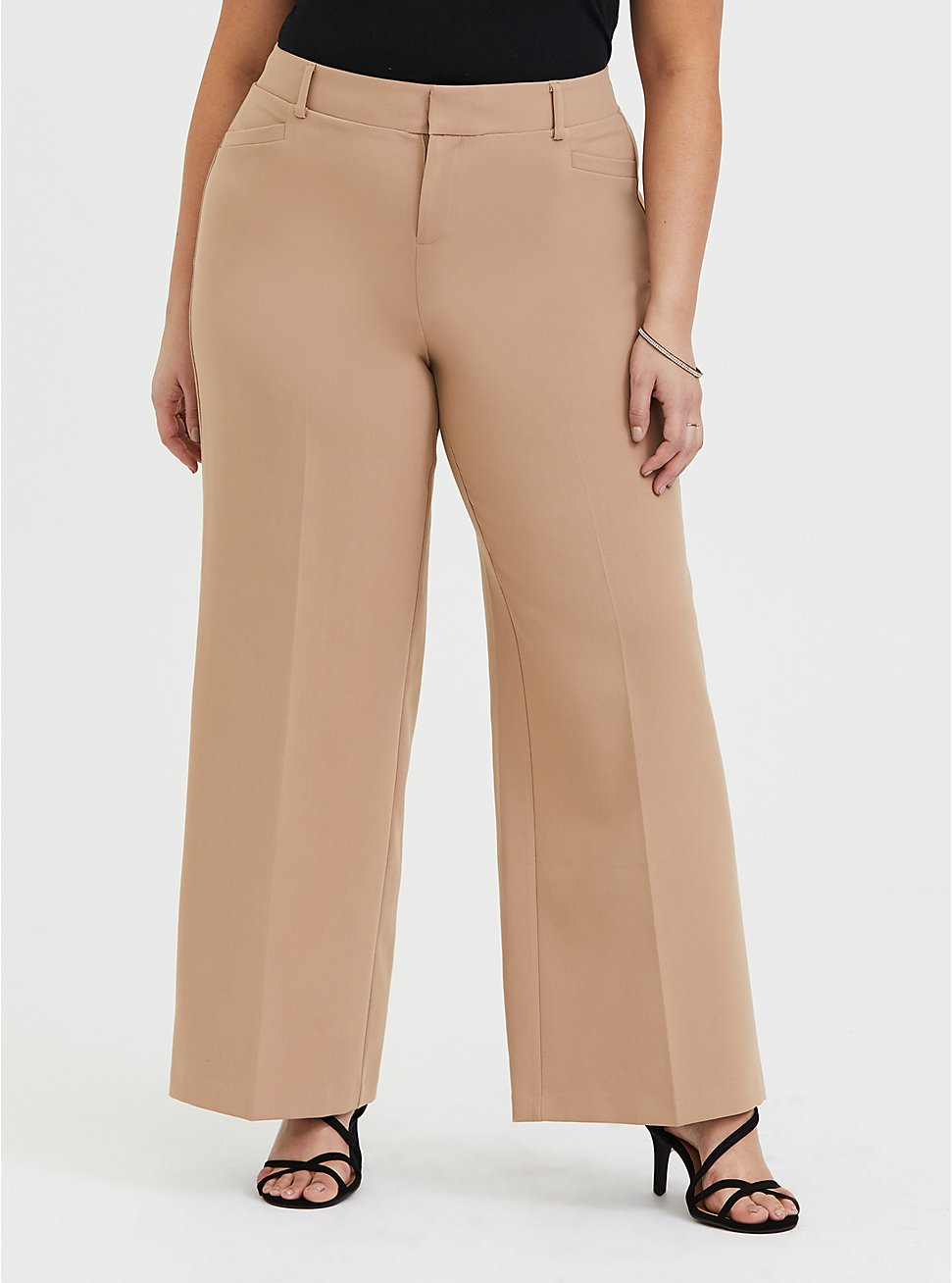 Plus Size Beige Structured Wide Leg Pant, MACCHIATO BEIGE, hi-res
