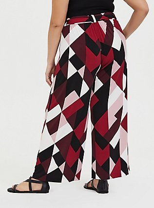 Wide Leg Tie Front Studio Knit Pant - Multi Geo Burgundy, GEO-MULTI, alternate
