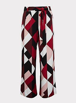 Wide Leg Tie Front Studio Knit Pant - Multi Geo Burgundy, GEO-MULTI, flat
