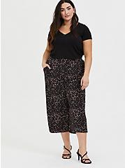Plus Size Black Leopard Heart Studio Knit Culotte Pant, HEARTS, alternate