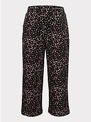 Plus Size Black Leopard Heart Studio Knit Culotte Pant, HEARTS, hi-res