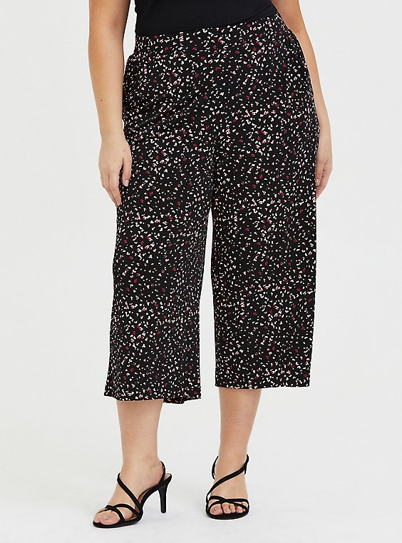Plus Size Black Leopard Heart Studio Knit Culotte Pant, , hi-res