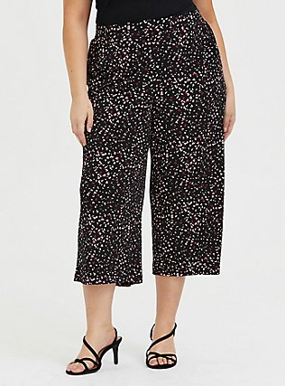 Black Leopard Heart Studio Knit Culotte Pant, HEARTS, hi-res