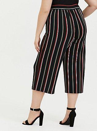 Black Multi Stripe Studio Knit Culotte Pant, STRIPES, alternate
