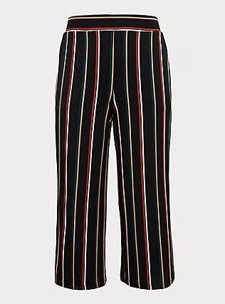 Black Multi Stripe Studio Knit Culotte Pant, STRIPES, flat