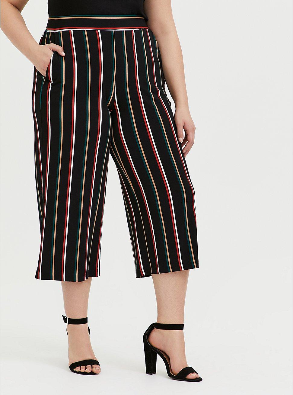 Black Multi Stripe Studio Knit Culotte Pant, STRIPES, hi-res