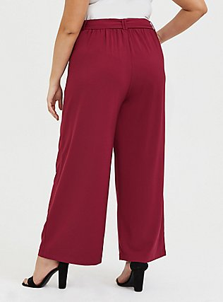 Plus Size Wide Leg Tie Front Crepe Pant - Red Wine, BEET RED, alternate