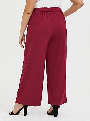 Red Wine Crepe Self Tie Wide Leg Pant, BEET RED, alternate