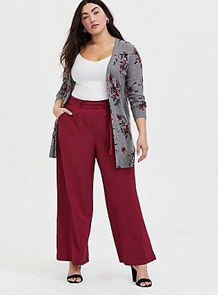 Wide Leg Tie Front Crepe Pant - Red Wine, BEET RED, alternate